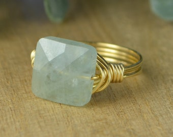 Aquamarine Faceted Square Gemstone Wrapped Ring- Sterling Silver, Yellow or Rose Gold Filled Wire-Any Size 4 5 6 7 8 9 10 11 12 13 14