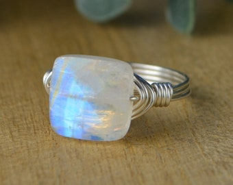 Square Faceted Rainbow Moonstone Gemstone Ring-Sterling Silver, Yellow/ Rose Gold Filled Wire Wrapped- Size 4 5 6 7 8 9 10 11 12 13 14