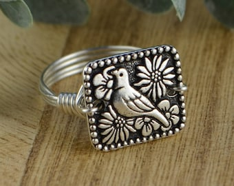 Bird Wire Wrapped Ring- Silver Plated Bird Bead with Sterling Silver, Rose or Yellow Gold Filled Wire - Any Size 4,5,6,7,8,9,10,11,12,13,14