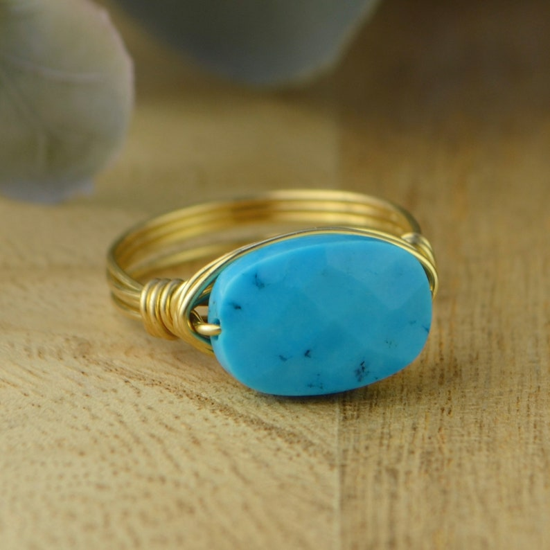 Yellow or Rose Gold Filled Wire Wrapped-Size 4 5 6 7 8 9 10 11 12 13 14 14 12 34 Faceted Turquoise Howlite Oval Ring Sterling Silver