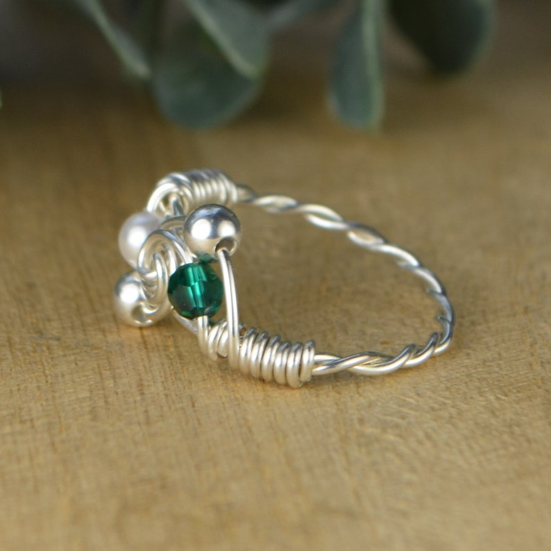 Handmade 6.5 Wire Wrapped Ring with Aquamarine chips Size 6.5