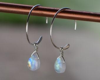 Interchangeable Tiny Rainbow Moonstone Teardrop Minimalist Dangle Earrings- Sterling Silver or Gold Filled