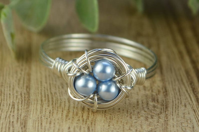 2210fb579ec70 Blue Pearls Birds Nest Ring- Sterling Silver, Yellow or Rose Gold Filled  Wire/Swarovski Crystal Pearls- Any Size 4 5 6 7 8 9 10 11 12 13 14
