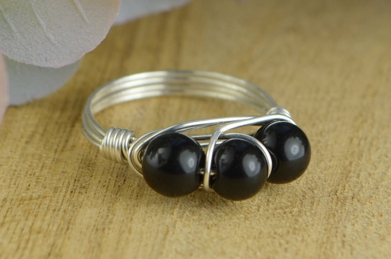 or Rose Gold Filled Wire Wrap Ring with Three Gemstones Black Jasper Ring Sterling Silver Size 4 5 6 7 8 9 10 11 12 13 14 Yellow