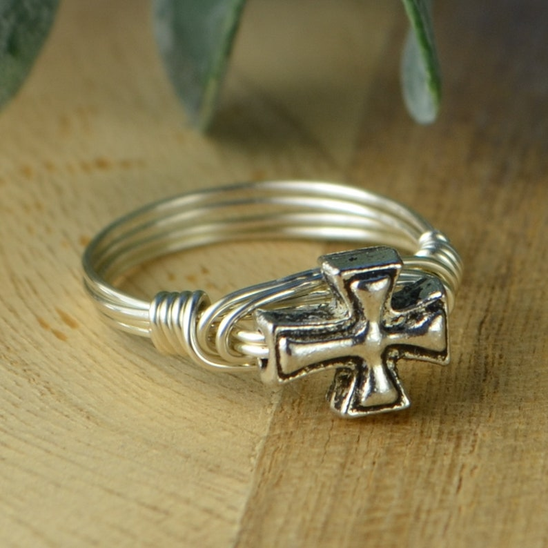 Sterling Silver Yellow or Rose Gold Filled WireSilver Toned Cross Bead Small Cross Wire Wrapped Ring Size 4 5 6 7 8 9 10 11 12 13 14