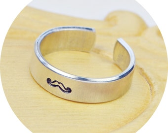 Mustache Adjustable Ring- Hand Stamped Aluminum Moustache Ring - Any Size- Size 4, 5, 6, 7, 8, 9, 10, 11, 12