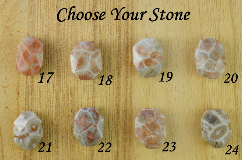 Yellow or Rose Gold Filled Wire Wrapped Gemstone Ring Size 4 5 6 7 8 9 10 11 12 13 14 Pink Fossil Coral Ring- Sterling Silver