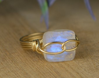 Infinity Symbol Rainbow Moonstone Gemstone Ring-Sterling Silver, Yellow/ Rose Gold Filled Wire Wrapped- Size 4 5 6 7 8 9 10 11 12 13 14