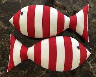Fish Pillow - Red and White Striped Pillow - Nautical Nursery - Red Fish - Coastal Decor