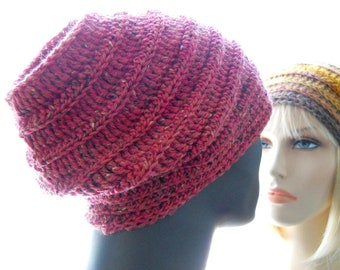 CROCHET PATTERN: The Lassen Slouchy Hat Pattern, Reversible Slouchy for Women and Men, Instant Download PDF