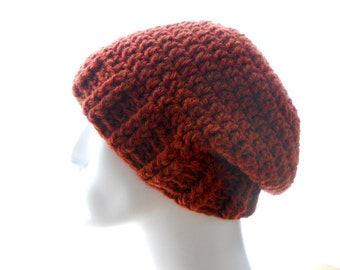 Ribby Crochet Hat, Slouchy Beanie Hat in Dark Burnt Orange Wool - Blend Yarn, Medium to Large Size