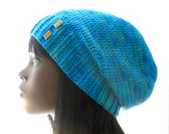 CROCHET PATTERN: The Sock-Yarn Ribby Slouchy Hat Pattern for Men and Women, Instant Download PDF