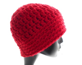 Crochet Hat, Men's and Women's Beanie Hat in Bright Red Wool - Blend Yarn, Small to Medium Size