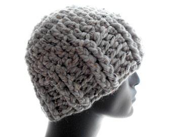 Ribby Crochet Hat, Men's and Women's Beanie Hat in Light Gray Tweedy Wool - Blend Yarn, Medium Size