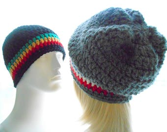 CROCHET PATTERN: The Reggie Beanie and Slouchy for Men and Women, Crochet Hat Pattern, Instant Download PDF