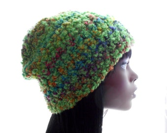 Lime Green Tweed Beanie Hat, Women's Slouchy Hat, Wool - Blend Hat, Crochet Beanie Hat, Medium to Large Size