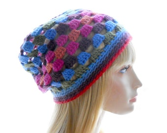 Wool Slouchy Hat, Women's Beanie Hat, Crochet Slouchy Hat with Multicolor Openwork Pattern, Extra Small to Medium Size