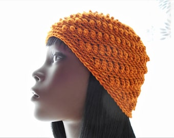 CROCHET PATTERN: The Bitsy Bobbles Beanie Hat Pattern, Five Sizes -- Baby to Adult Large, Instant Download PDF