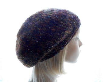 Sparkly Slouchy Hat, Mohair - Blend Hat, Women's Crochet Hat, Brown Tweed Beanie Hat, Medium to Large Size