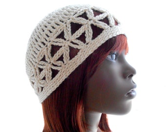 HANDMADE HAT: Pearl Ivory Juliet Cap, Women's Crochet Hat, Bamboo-Silk Hat, Eco Fashion, Small to Large Size