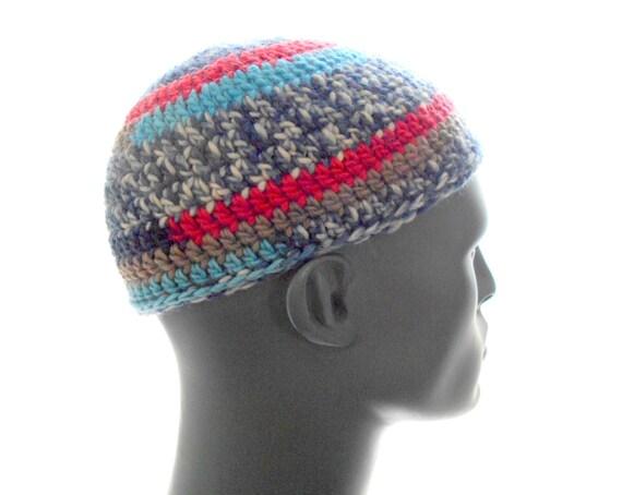 Wool Kufi Hat Crochet Striped Beanie Mens Hat Etsy