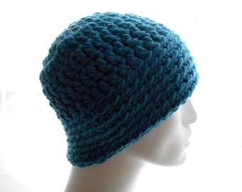 Crochet Hat, Men's Beanie Hat in Blue Wool - Blend Yarn, Medium Size