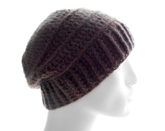 Upcycled Cashmere - Wool Hat, Crochet Hat, Men's Beanie Hat in Mocha Brown, Medium to Large Size