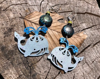 Statement Beaded Earrings, Oh Whale, Beaded Whale Jewelry, Whale Earrings, Statement Jewelry