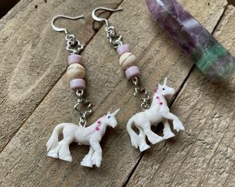 Dangle Unicorn Beaded Jewelry, Dangle Earrings