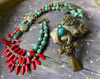 Egyptian Beaded Long Necklace