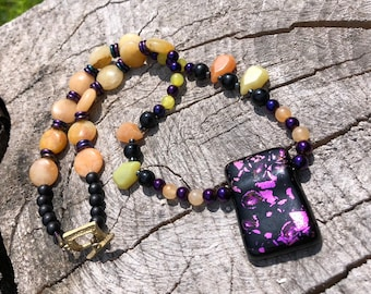 Statement Beaded Necklace, Bold Jewelry