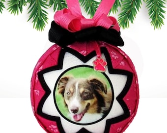 Personalized Pet Christmas Ornament in PINK & BLACK