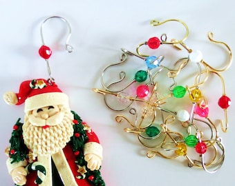 Christmas Tree Ornament Hangers / Hooks - Your choice of Faceted Bead & Wire Color - One Set of 6 = 1 QTY