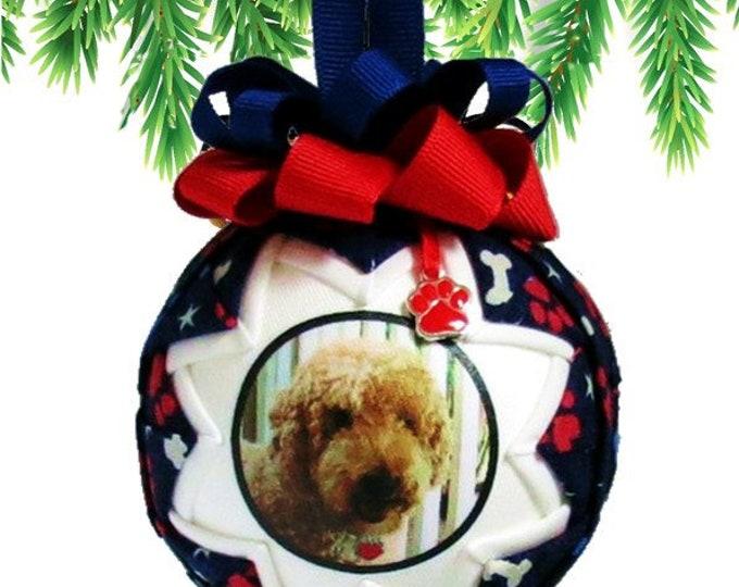 Patriotic Christmas Ornament - Pet Photo - Personalized