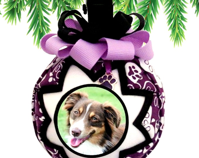 Personalized Pet Christmas Ornament in PURPLE & BLACK