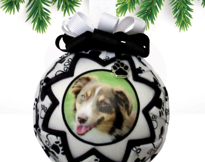 Personalized Pet Christmas Ornament in BLACK & WHITE