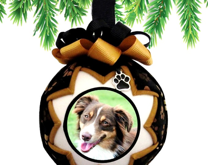 Personalized Pet Christmas Ornament in BLACK & GOLD