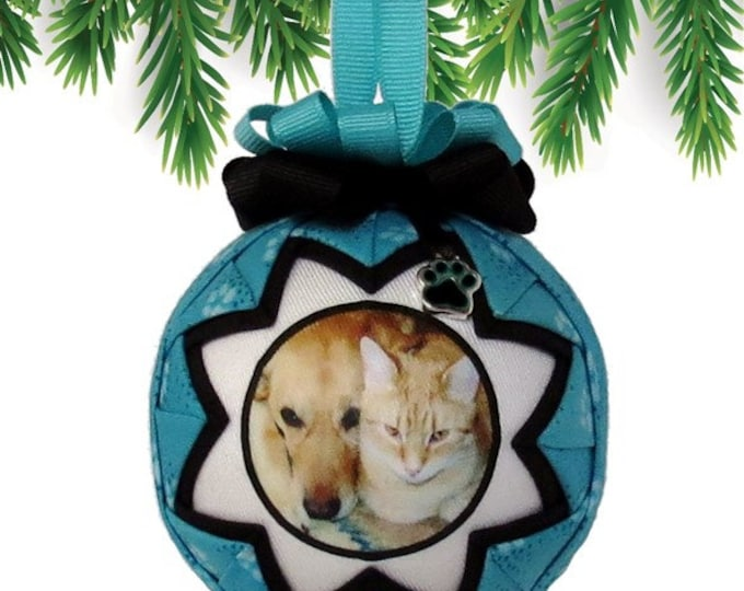 Personalized Pet Christmas Ornament in TEAL & BLACK