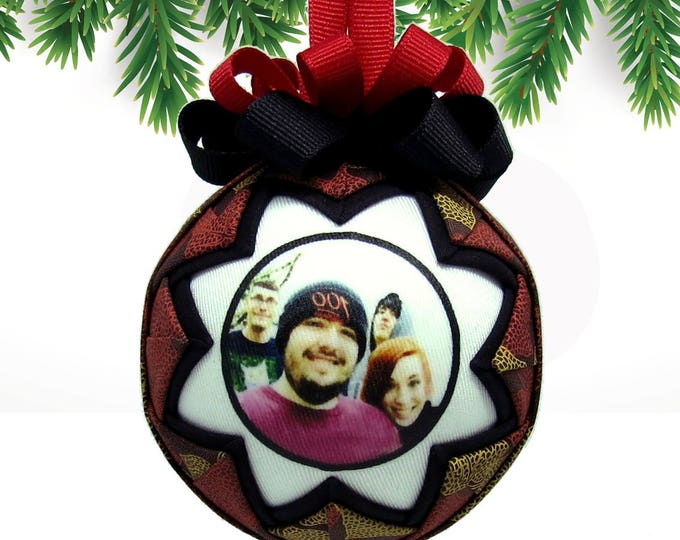 Personalized Photo Ornament Keepsake - Fall Leaves in Rustic Red and Green Fabric