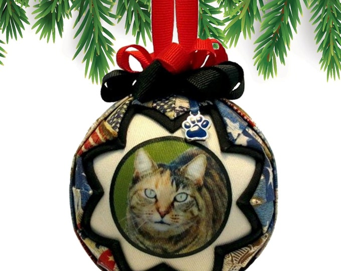 Personalized Pet Christmas Ornament in Patriotic RED WHITE & BLUE