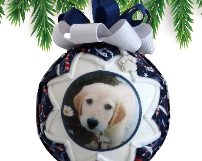 Personalized Pet Christmas Ornament in BLUE & WHITE