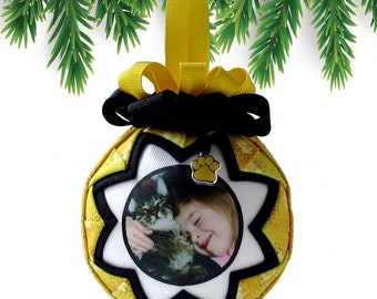 Personalized Pet Christmas Ornament in YELLOW & BLACK
