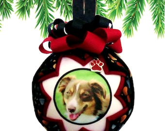 Personalized Pet Christmas Ornament in BLACK & MAROON