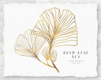 Watercolor PNG Clip Art Set - Gold Gingko Leaf, Set of Two, Transparent Individual PNG