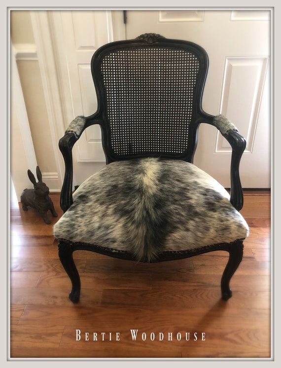 Tremendous Vintage French Cane Back Chair In Brazilian Cowhide Black Carved Wood French Accent Chair Ncnpc Chair Design For Home Ncnpcorg