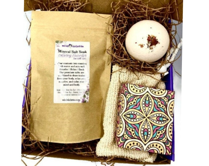 Personalized Spa Gift Set, Self Care Bath Gift for Women, Relaxation Lavender Kit for Her, Salts, Bath Bomb, Handcrafted Soap,