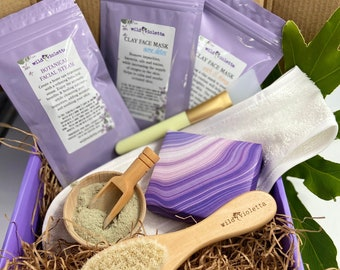 Christmas Holiday Personalized Spa Facial Mask Gift Set, Botanical Face Steam, Gift for Women