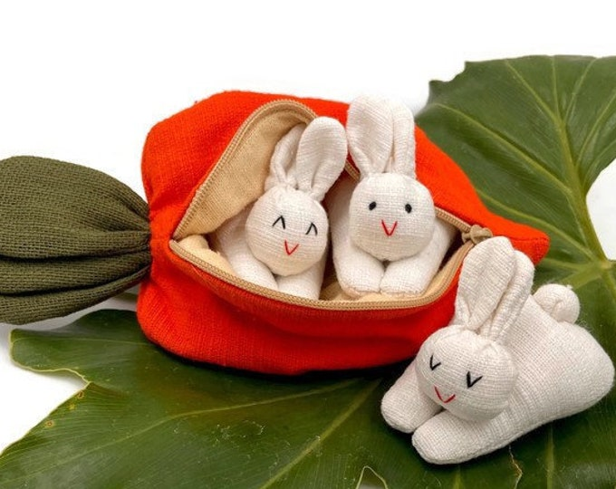Trio of Stuffed Mini Bunnies fit inside Carrot Purse / Easter Basket Gift