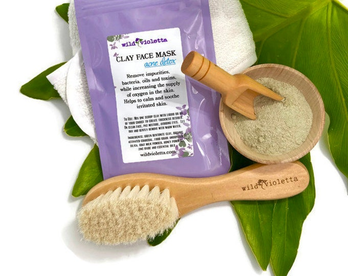 Detox Clay Face Mask Sample pack / Acne and Detoxing Spa Facial, Clay Masks, Botanical Face Steam, Face Brush