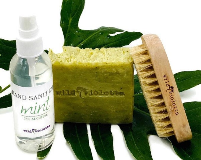 Hand Sanitizer Gift Set / Nail Brush, Soap, Hand Sanitizer Spray